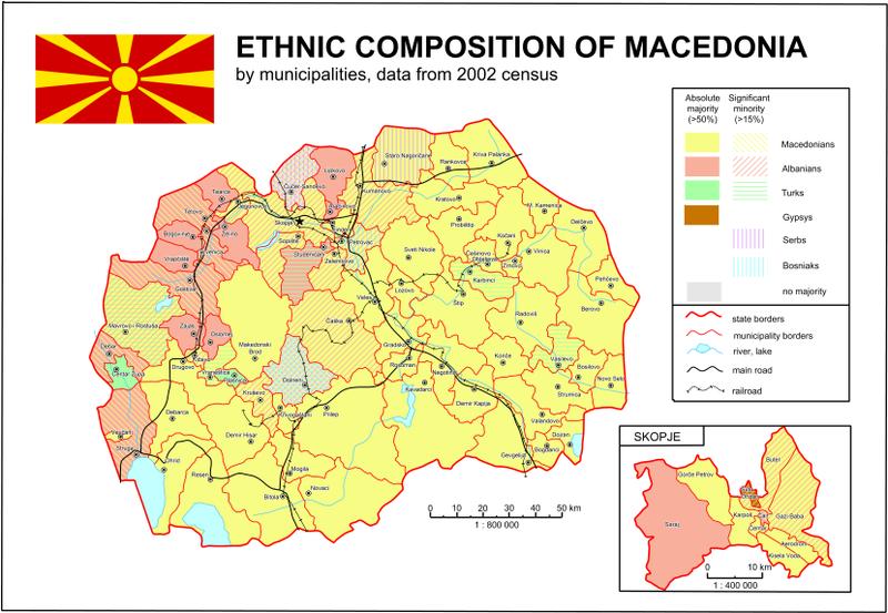 Mapa de las etnias en Macedonia