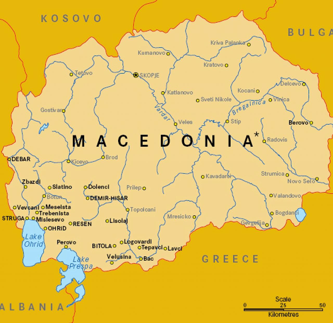 Donde está Macedonia? Fronteras