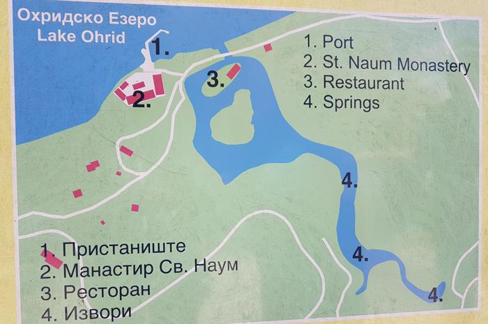 Mapa de los lugares a visitar en San Naum