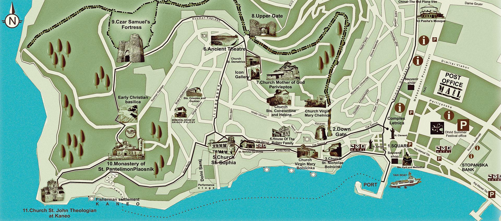 Mapa de los lugares de interés en la ciudad de Ohrid